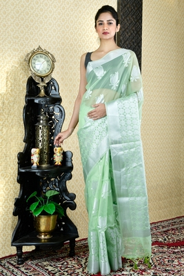 CANDY GREEN BLENDED TISSUE SAREE WITH SILVER THREAD WORK