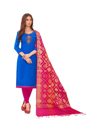 Blue self design cotton salwar