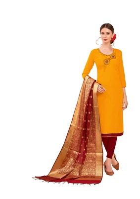 Yellow self design cotton salwar