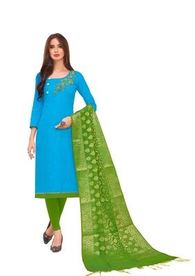 Sky-blue self design cotton salwar