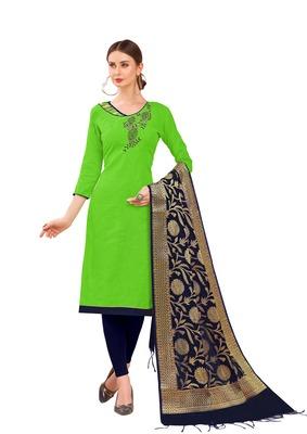 Parrot-green self design cotton salwar