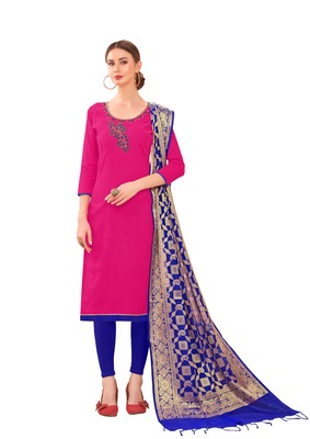 Rani-pink self design cotton salwar