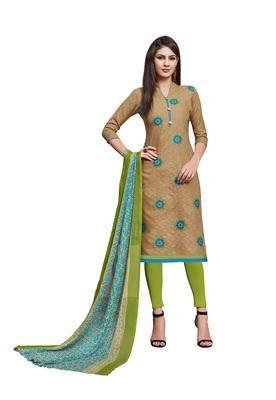 Light-brown embroidered jacquard salwar