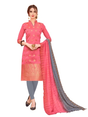 Pink woven banarasi salwar