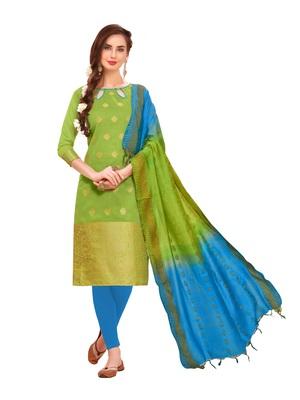 Parrot-green woven banarasi salwar