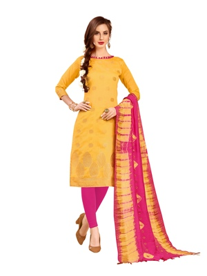 Yellow woven banarasi salwar