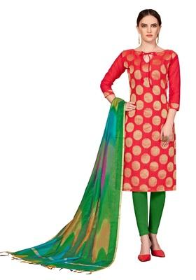 Red woven banarasi salwar