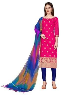 Rani-pink woven banarasi salwar