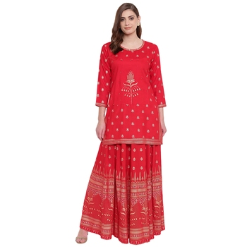 Red embroidered rayon kurtas-and-kurtis