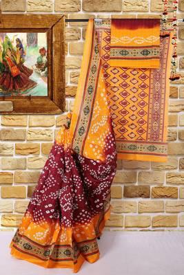 Multicolor printed cotton silk Bandhej Saree saree with blouse