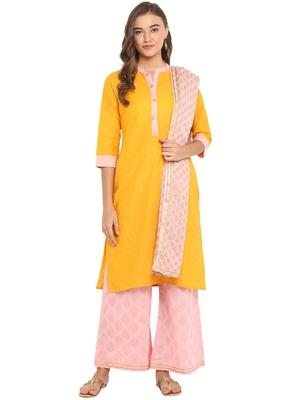 yellow Cotton Straight Print Straight Stitched Kurta With palazzo & Dupatta
