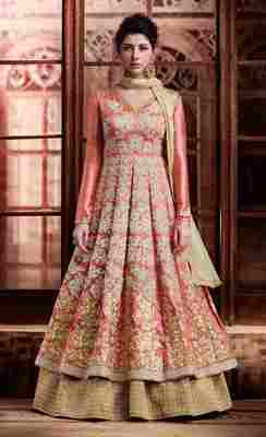 Peach embroidered art silk salwar