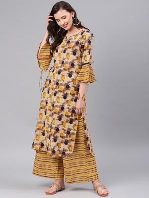 Beige floral print cotton salwar