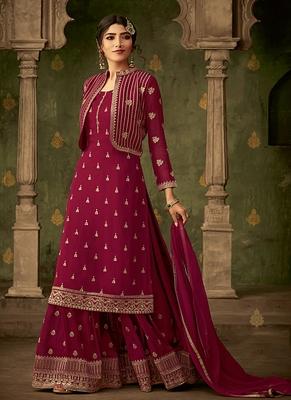 Crimson embroidered georgette salwar