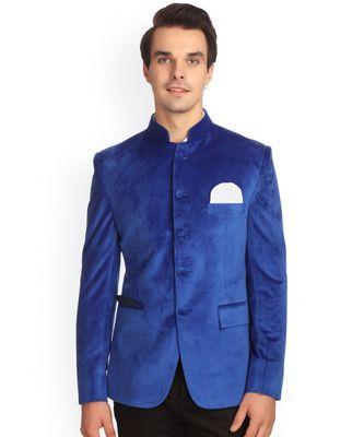 blue Jodhpuri Velvet Coat