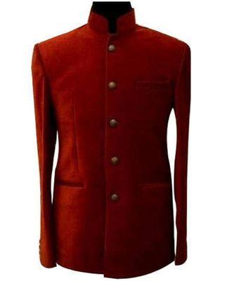 red Jodhpuri Velvet Coat