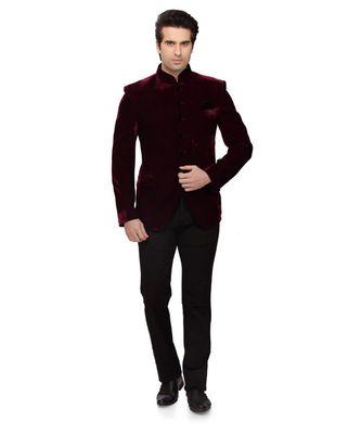 maroon Jodhpuri Velvet Coat
