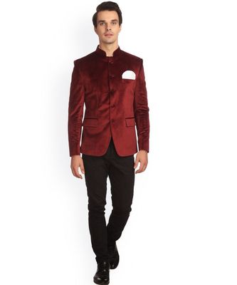 red Jodhpuri Velvet Coat