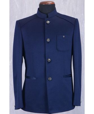 blue Jodhpuri Terry Wool Coat