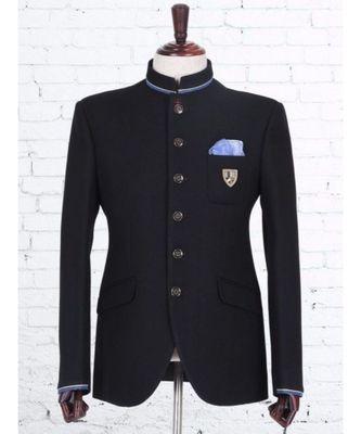 black Jodhpuri Terry Wool Coat