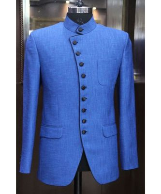 blue Jodhpuri Terry Wool Coat