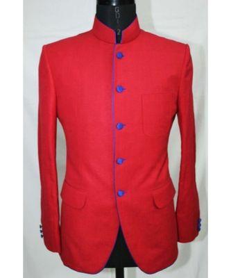 red Jodhpuri Terry Wool Coat