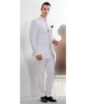 white Jodhpuri Terry Wool Suit