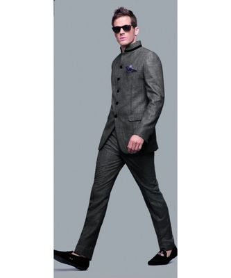grey Jodhpuri Terry Wool Suit