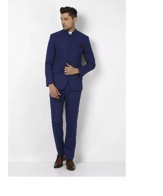 blue Jodhpuri Terry Wool Suit