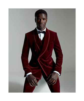 red Jodhpuri Velvet Suit