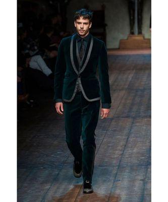 green Jodhpuri Velvet Suit