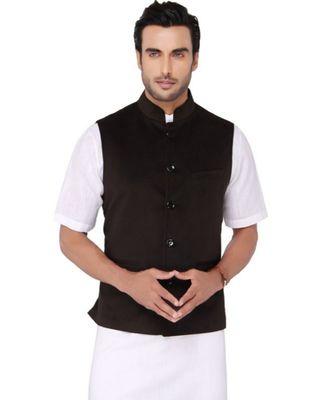 black Modi Jacket Terry Wool Fabric Latest Design
