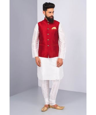 red Modi Jacket Terry Wool Fabric Latest Design