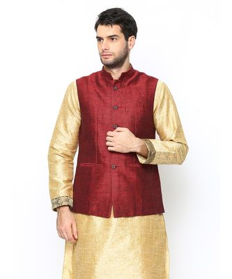 maroon Modi Jacket Terry Wool Fabric Latest Design