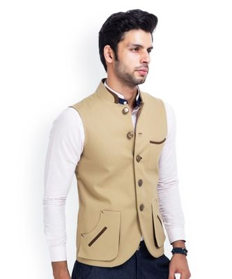 beige Modi Jacket Terry Wool Fabric Latest Design