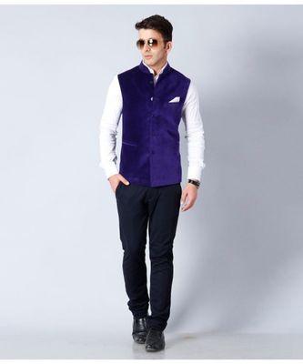 blue Modi Jacket Terry Wool Fabric Latest Design