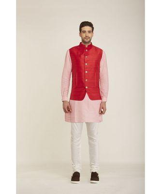red Modi Jacket Terry Wool Fabric Latest Design