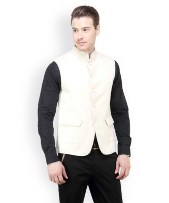 white Modi Jacket Terry Wool Fabric Latest Design