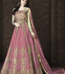 Light Pink Butterfly Net Heavy Embroidery And Diamonds Designer Suit