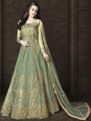 Light Mehendi Color Butterfly Net Heavy Embroidery And Diamonds Designer Suit