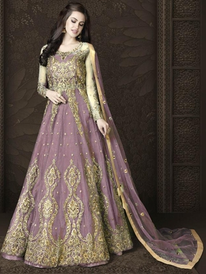 Light Purple Butterfly Net Heavy Embroidery And Diamonds Designer Suit