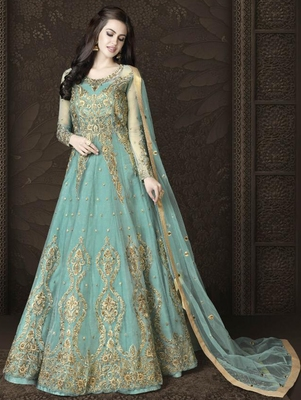 Soft Cyan Butterfly Net Heavy Embroidery And Diamonds Designer Suit