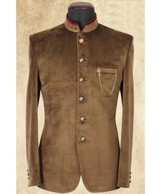 brown  Jodhpuri Velvet Coat