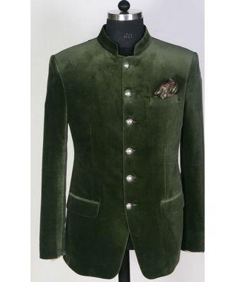 green  Jodhpuri Velvet Coat