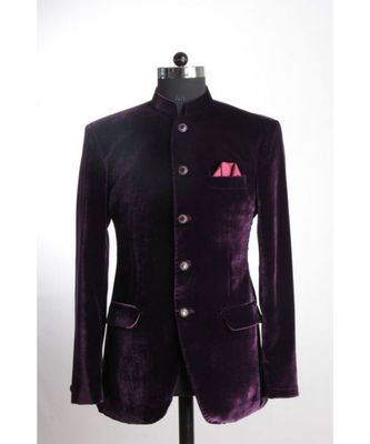 purple Jodhpuri Velvet Coat