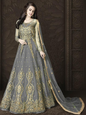 Light Grey Butterfly Net Heavy Embroidery And Diamonds Designer Suit