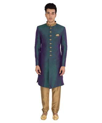 green Men's Sherwani in Silk Fabric