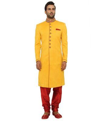 yellow Men's Sherwani in Silk Fabric