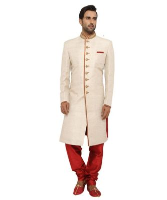 pink Men's Sherwani in Silk Fabric