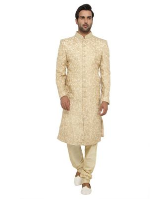 pink Men's Sherwani in Silk Fabric